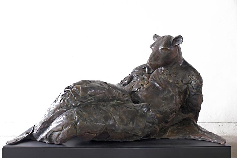 """Large Reclining Bat, 2011,.Bronze, 42"""" h x 62"""" l x 42"""" d©Copper Tritscheller"""