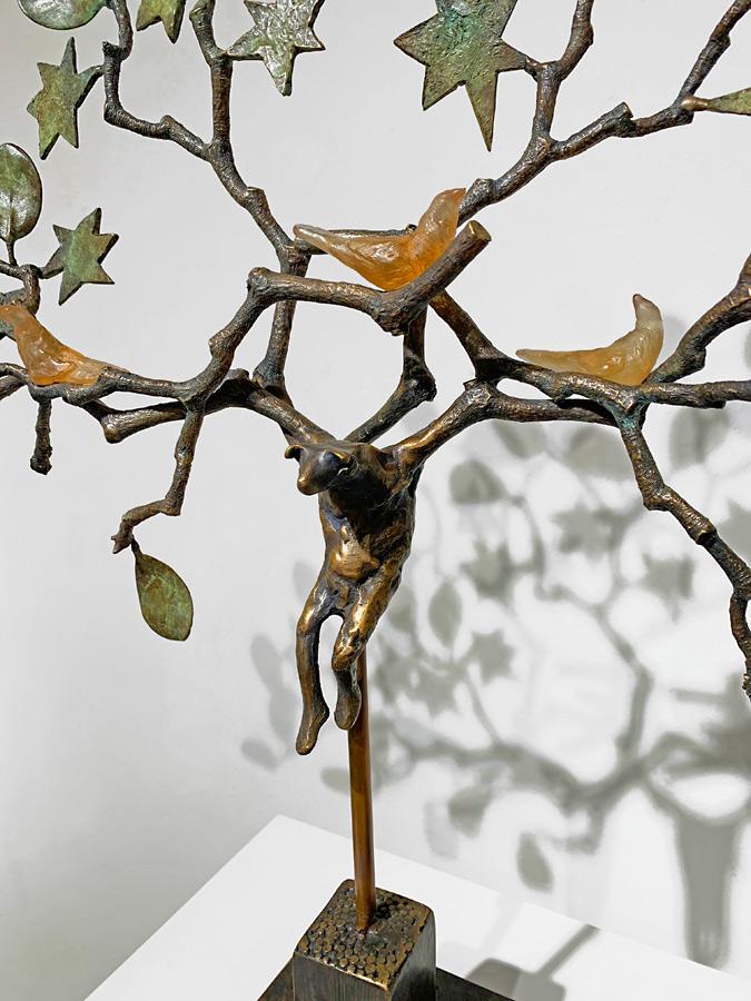 Bat Sculptures in Bronze & Glass by Copper Tritscheller