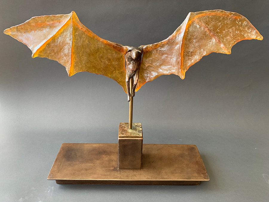 Bat with Amber Glass Wings, 2019-20. Unique. Tritscheller.