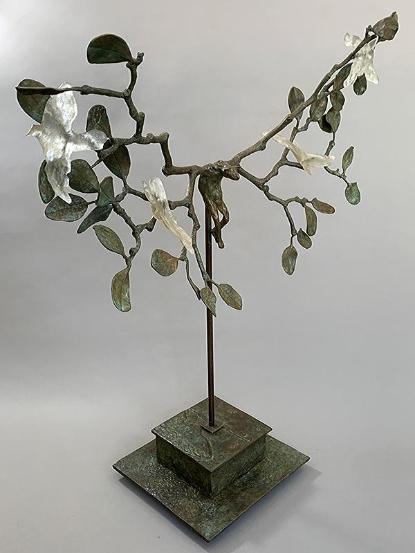 Bronze Bat & Branches with Glass Birds. ©Tritscheller