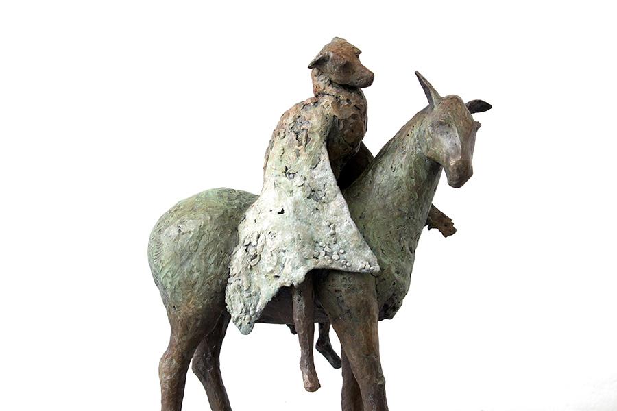 "Small Bat on Burro, 2011. Bronze, 24""h x 17""l x 9""w. Tritscheller"