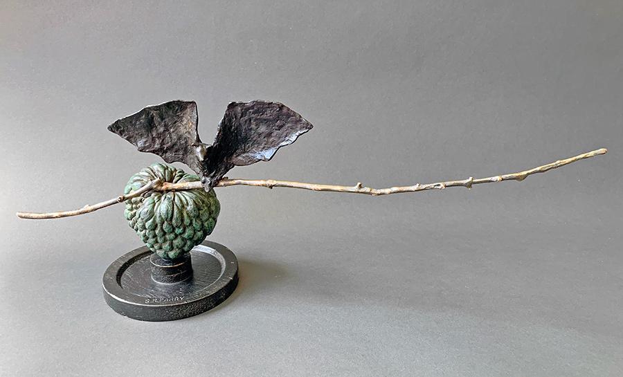 """Bat on Butter Apple, 2019. Bronze, wood, Unique, 8""""h x 18"""" l x 4""""d. Tritscheller"""