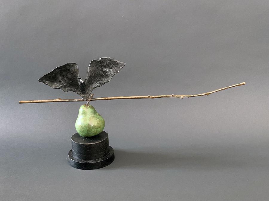 """Bat on Pear, 2019. Bronze, wood. Unique, 10""""h x 15"""" l x 4""""d. Tritscheller"""