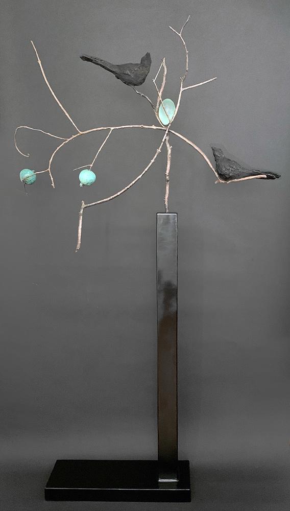 """Birds and Egg, 2020. Unique. Bronze, Cast Lead Glass, Steel, 71""""h x 41""""L x 8""""d . Tritscheller"""