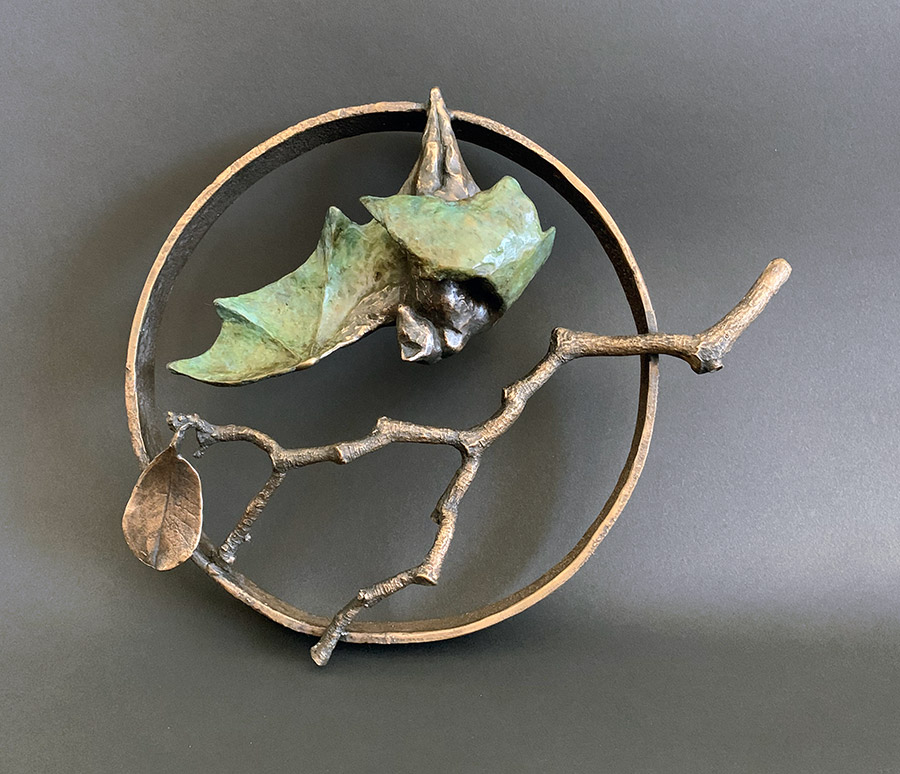 "Hanging Bat In Circle, 2020. Bronze, 10""h x 12""l x 4""d. Tritscheller"