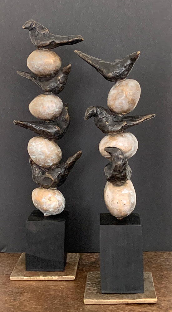"""Stacked Birds on Eggs, 2020. Unique. Bronze & wood, 10""""h and 9""""h"""