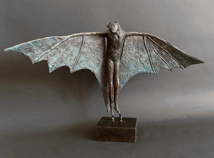 """Stilted Flight, 2020. Bronze, 17"""" H x 28"""" L x 9"""" D. Tritscheller"""