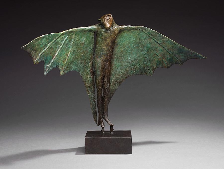 "Stilted Flight II, 2011. Bronze, 17""h x 28""l x 9""d. Tritscheller"