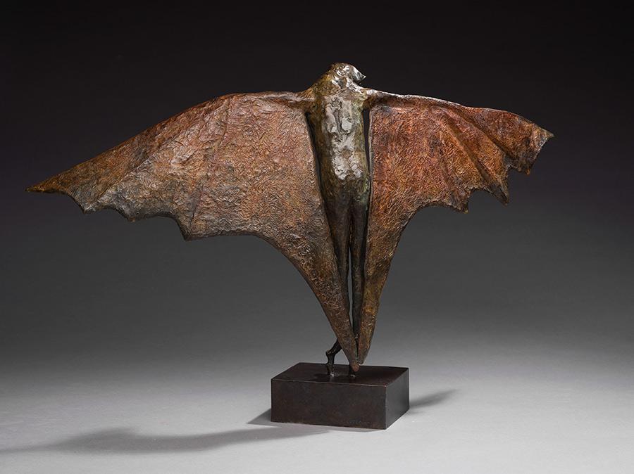 "Stilted Flight II (back view), 2011. Bronze, 17""h x 28""l x 9""d. Tritscheller"