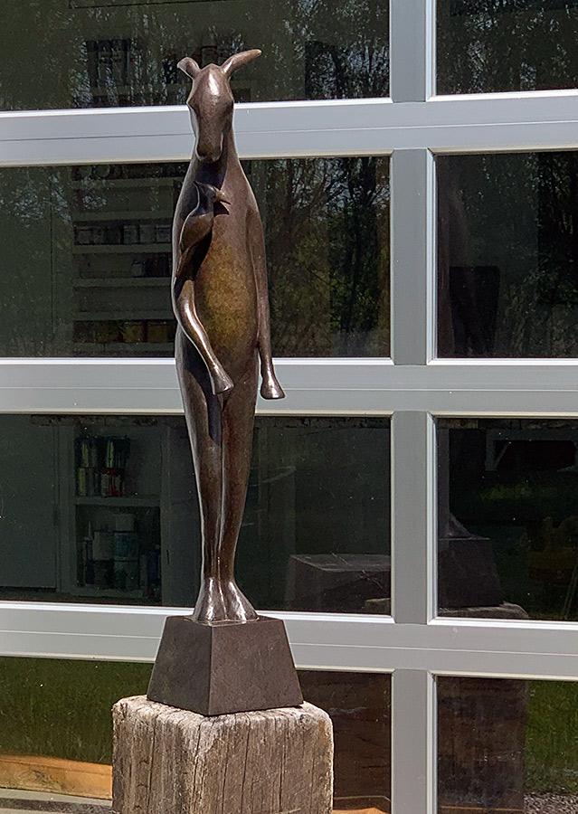 Burro with Bird on Shoulder, 2015. Limited edition. Bronze, 46h x 8w x 11d inches. Tritscheller