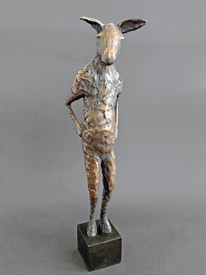 Burro with Attitude, 2013. Limited edition. Bronze, 22h x 6w x 9d inches. Tritscheller