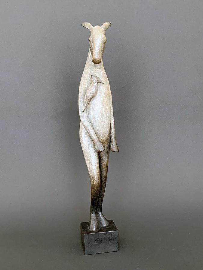 Burro with Bird on Shoulder, 2011. Limited edition. Bronze, 22h x 5 w x 5d . Tritscheller