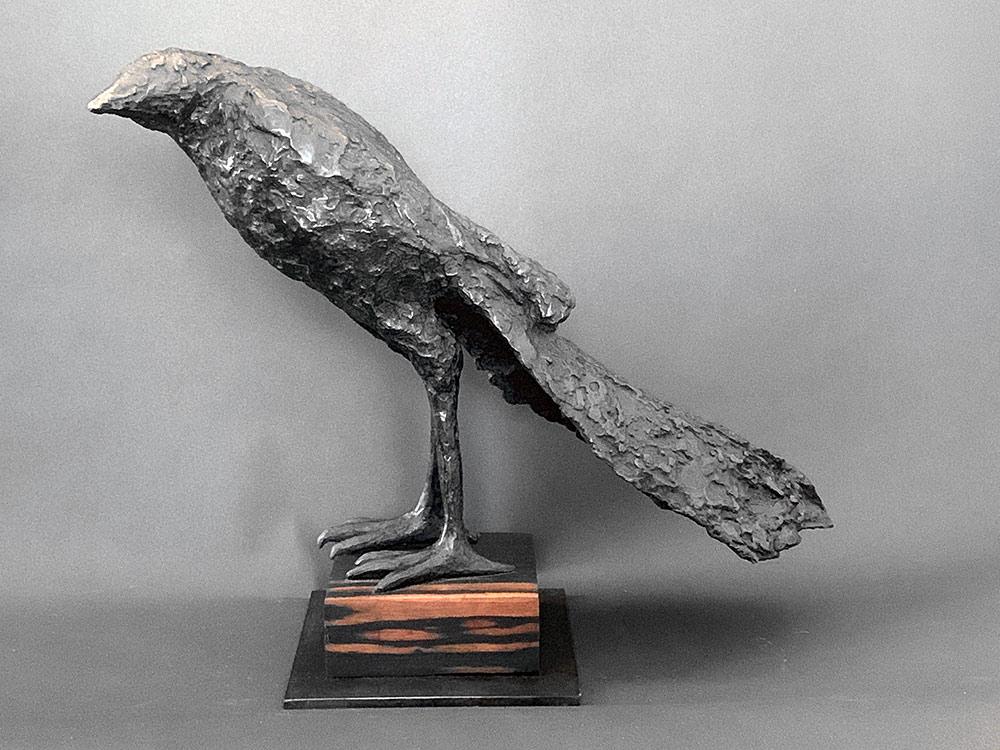 Crow, 2019. Bronze on wood base, 13h x 20