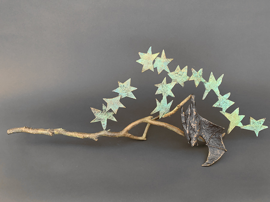 "Hanging Bat with Stars, 2019. Bronze, Unique, 16"" h x 21""l x 5'd. Tritscheller"