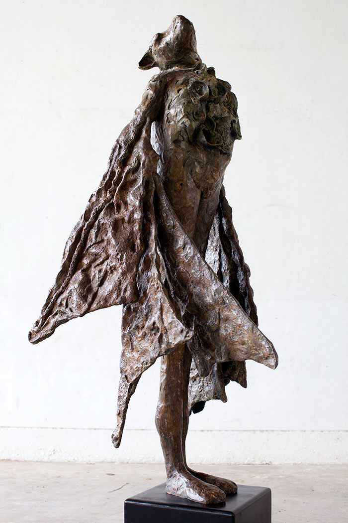 """Large Seashell Bat, 2011. Bronze, 5.5' h x 24"""" L x 30"""" d. Tritscheller"""