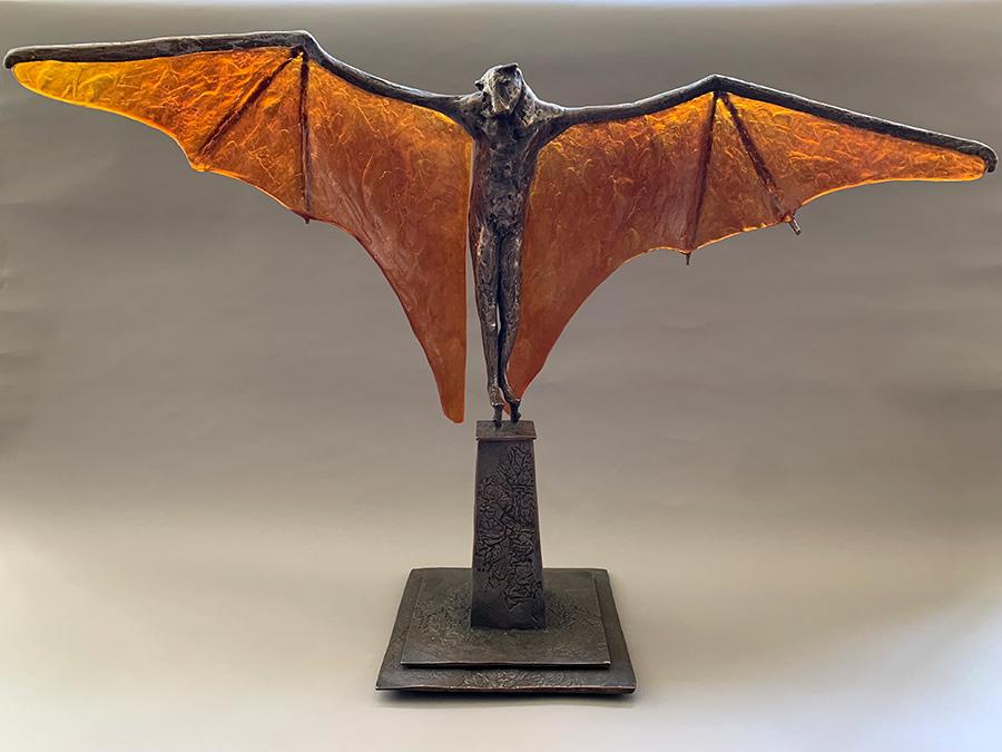 Stilted Flight with Dark Amber Glass Wings, 2021. ©Tritscheller