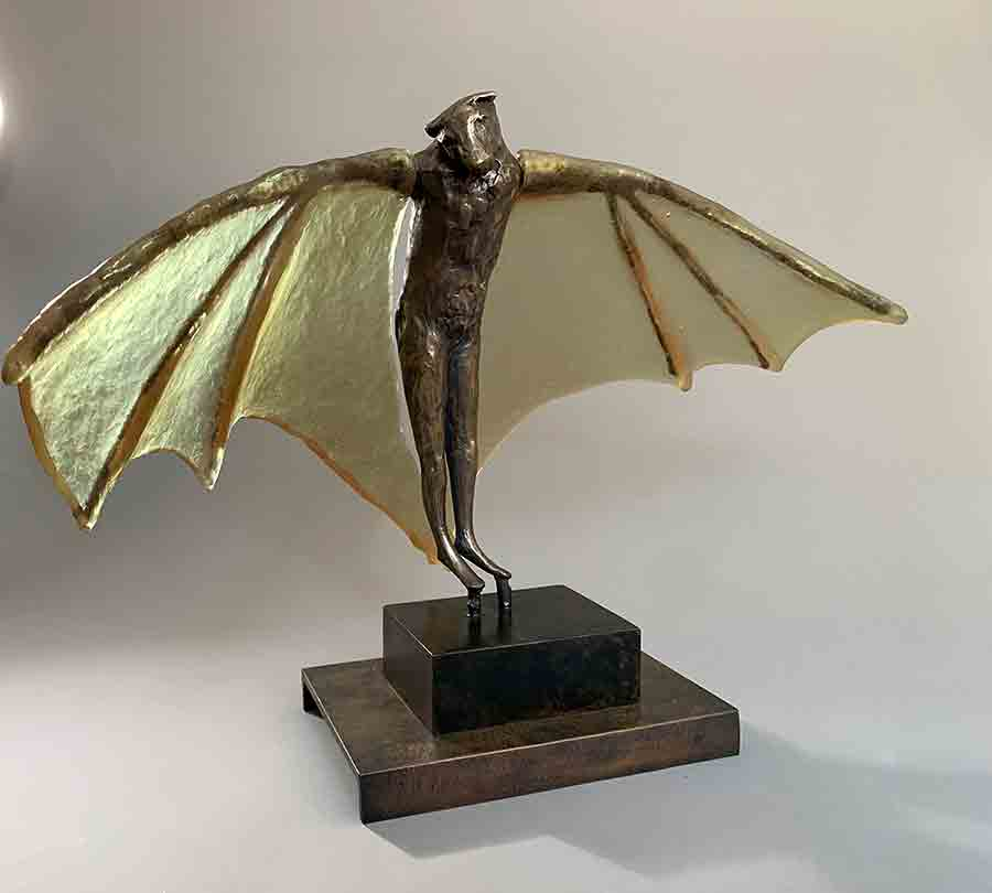 Stilted Bat with Rhubarb glass wings, 2020-21. ©Copper Tritscheller