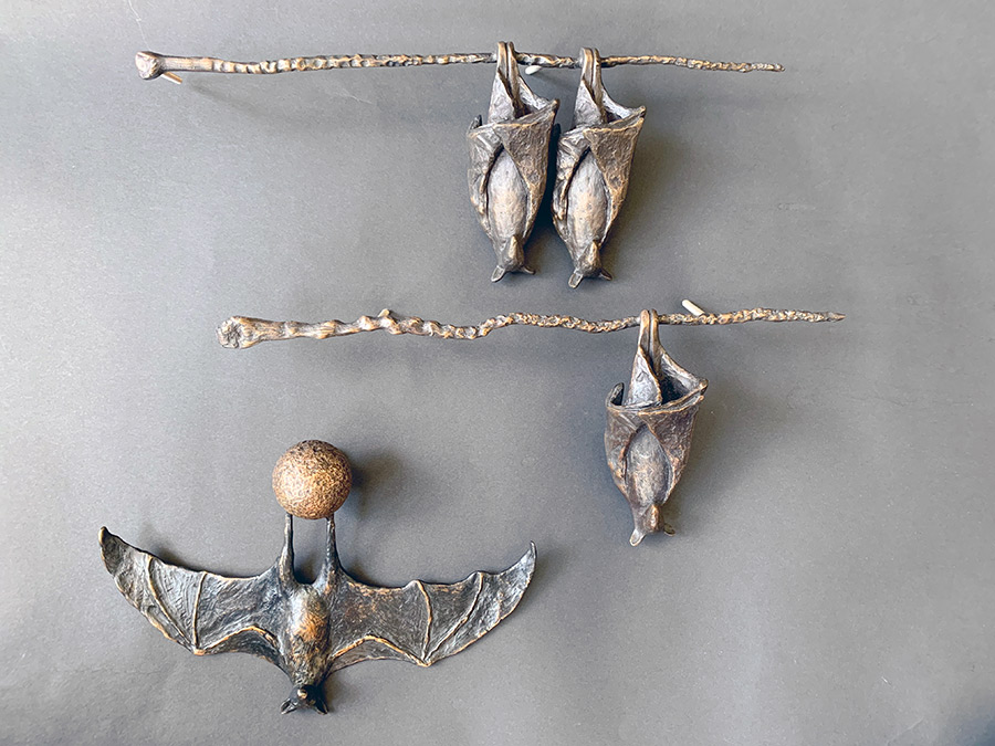 Bronze Upside Down Bats on Branches, Copper Tritscheller