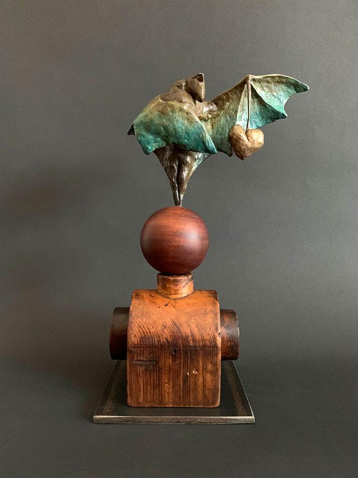 "Cherish, 2020, Bronze, wood, unique, 10""h x 6""l x 5""d. ©Tritscheller"